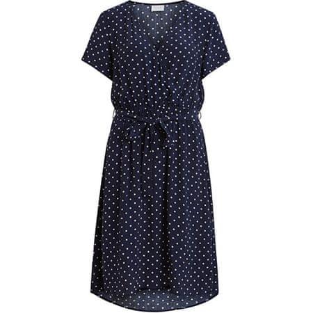 VILA Sukienka damska VIPRIMERA WRAP S / S DRESS-FAV LUX Navy Blaze r SNOWWHITE KROPKA 0,5 CM (Rozmiar 44)