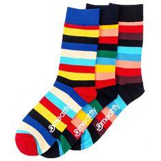 MEATFLY 3 PACK - zokni Stripe socks S19 Multipack