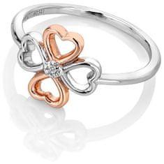 Hot Diamonds Bicolor stříbrný čtyřlístkový prsten s diamantem Lucky in Love DR216 stříbro 925/1000