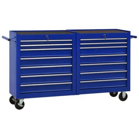 shumee Wózek narzędziowy z 14 szufladami, stalowy, niebieski
