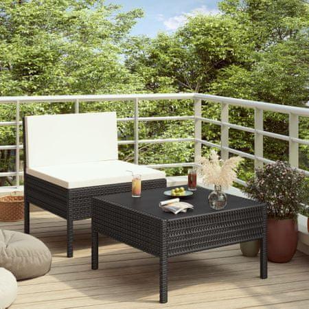 shumee 2-részes fekete polyrattan kerti bútorszett párnákkal