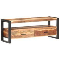shumee TV skrinka 120x35x45 cm masívne drevo a sheeshamová úprava