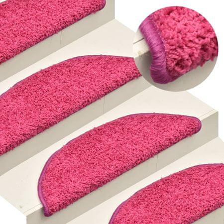 shumee 15 db rózsaszín lépcsőszőnyeg 56 x 17 x 3 cm