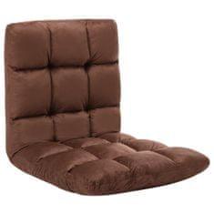 shumee Składane krzesło podłogowe, brązowe, mikrofibra