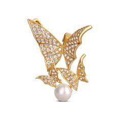 JwL Luxury Pearls Prekrásna pozlátená brošňa s pravou perlou 2v1 - motýle JL0630