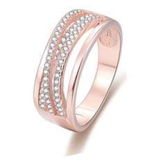 Beneto Růžově pozlacený stříbrný prsten se zirkony AGG340 stříbro 925/1000