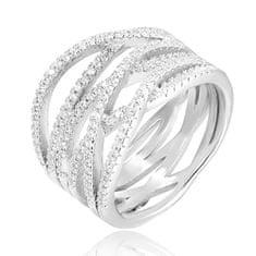 Beneto Stříbrný prsten se zirkony AGG341 stříbro 925/1000