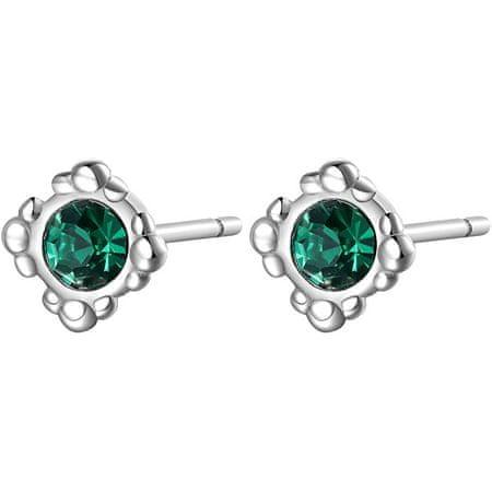 S'Agapõ Elegáns acél fülbevaló zöld kristályokkal CLICK SCK32