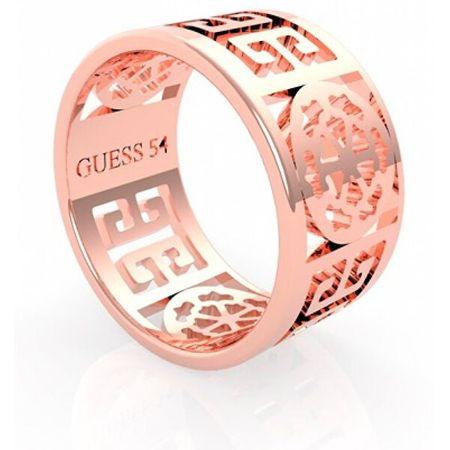 Guess Elegáns rózsaszín aranyozott gyűrű Peony Art UBR29034 (Kerület 52 mm)