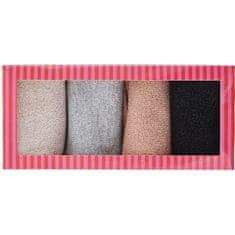 Pieces 4 PAKET - ženske nogavice PCRHONA LUREX SOCK BOX 17108873 Silver barva