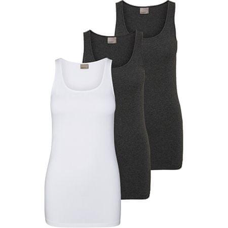 Vero Moda 3 PACK - Női trikóVMMAXI MY SOFT LONG 10229554 Bright White&Dark Grey Melange (méret S)