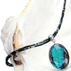 Lampglas Tajomný náhrdelník Deep Sea s perlou Lampglas s rýdzim striebrom NP 11