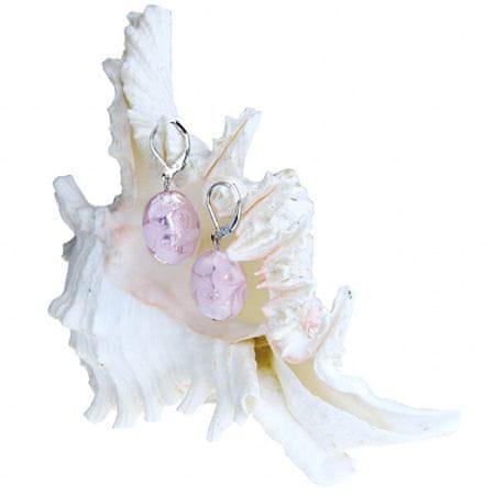 Lampglas Gyengéd fülbevaló Pink Lace Lampglas gyönggyel, tiszta ezüst EP2