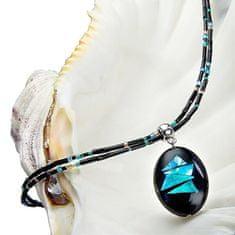 Lampglas Výrazný náhrdelník Turquoise Shards s perlou Lampglas s ryzím stříbrem NP12