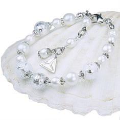 Lampglas Elegantný náramok White Lace s perlami Lampglas s rýdzim striebrom BP1