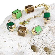 Lampglas Dizajnový náramok Emerald Shadow s perlami Lampglas BCU5