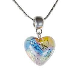 Lampglas Nežný náhrdelník Romantic Heart s perlou Lampglas s rýdzim striebrom NLH6