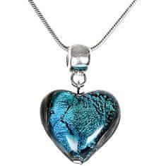 Lampglas Výjimečný náhrdelník Turquoise Heart s perlou Lampglas s ryzím stříbrem NLH5