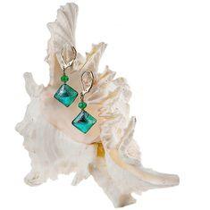Lampglas Elegantné náušnice Emerald Princess s rýdzim striebrom v perlách Lampglas ERO1