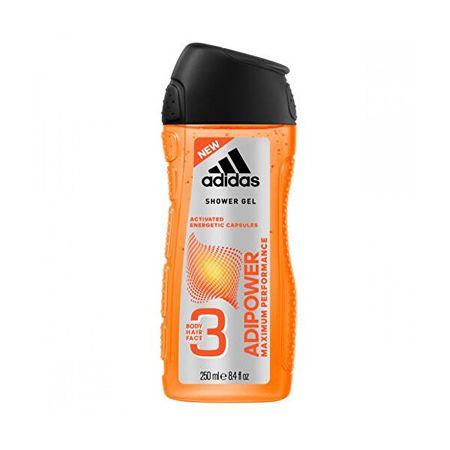 Adidas Adipower (Shower Gel Body Hair Face) 3 az 1-ben tusfürdő férfiaknak (Mennyiség 250 ml)