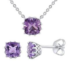 Silvego Stříbrný set šperků s ametystem MW10812A (náušnice, řetízek s přívěskem) stříbro 925/1000