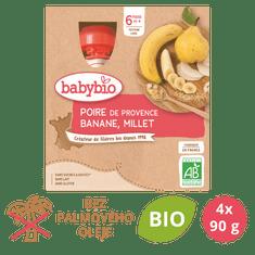 Babybio Hruška, banán, proso 4x90 g