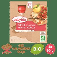 Babybio Jablko, jahoda, vanilka 4x90 g