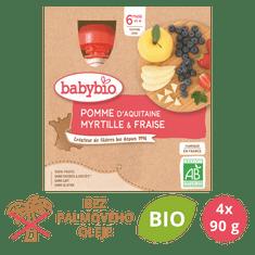Babybio Jablko, čučoriedky, jahody 4x90 g