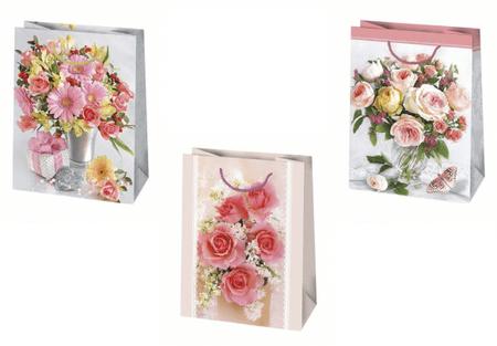"""GoDan Ajándék táska """"Virágok"""" 300x420x140 - 1 db"""