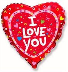 """Anagram Fóliový balón srdce 18"""" I LOVE YOU - červené"""