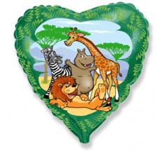 """Anagram Fóliový balón 18"""" Zvierata v džungli - zelený"""