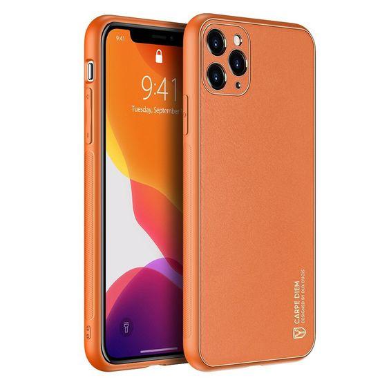 Dux Ducis Yolo kožený kryt na iPhone 12 / 12 Pro, oranžový