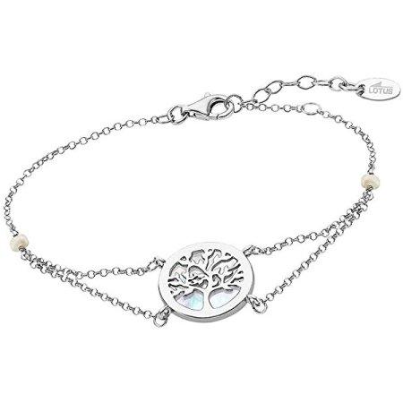 Lotus Silver Elegáns ezüst karkötő gyönggyel Életfa LP1821-2/1