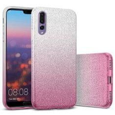 Bling ovitek za iPhone 12 Pro Max, 2 v 1, silikonski, srebrno-pink, z bleščicami