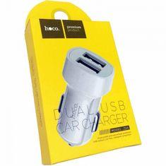 Hoco Z2A adapter za punjač za automobil, 2 x USB, 2,4 A, bijeli