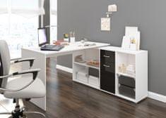 Meblocross Beat P rohový písací stôl biela / čierny lesk