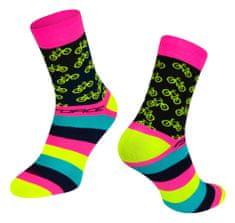 Force Cyklistické ponožky Cycle - růžová/fluo žlutá