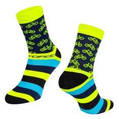 Force Cyklistické ponožky Cycle - žlutá/modrá