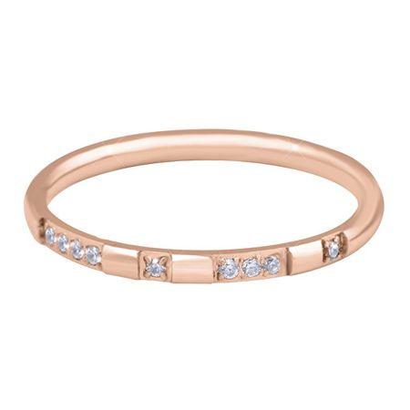Troli Aranyozott minimalista acél gyűrű cirkónium kövekkel Rose Gold (Kerület 50 mm)