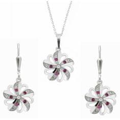 Praqia Prekrásna súprava šperkov s kryštálmi KO2097_NA1035_RH (retiazka, prívesok, náušnice) striebro 925/1000