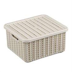 """IDEA Úložný box s víkem """"pletení"""", 1,5 l, bílý ratan"""