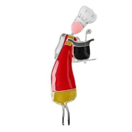 """Kraftika Bross """"szakács"""", piros-sárga szín ezüstben"""