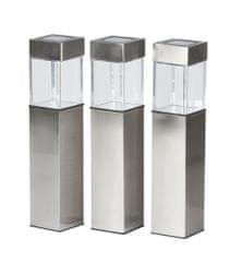 GRUNDIG Napelemes lámpa készlet 3 db, 5,8x5,8x40 cm rozsdamentes acél 1LED 1xAAA 600 mAH 1,2V