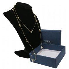 Lorenti Dámský dlouhý náhrdelník Square s kamínky, zlatý