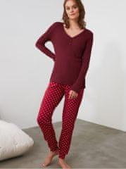 Trendyol vínové puntíkované pyžamo