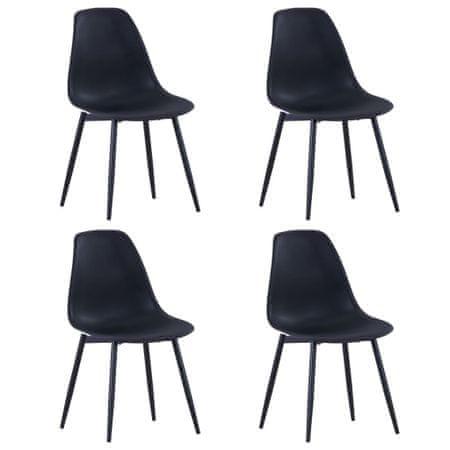 shumee Jedilni stoli 4 kosi črne barve PP