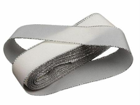 Kraftika 10m fehér ezüst taft szalag szélessége 25mm lurex