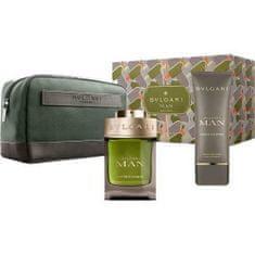Bvlgari Poklon set Man Wood Essence - parfemska voda, 100 ml + sredstvo za brijanje, 100 ml + torbica