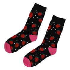 Emi Ross Veselé ponožky jahody, čierne 35-39