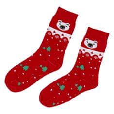 Emi Ross Ponožky Vianočné polárny medveď, červené 39-43